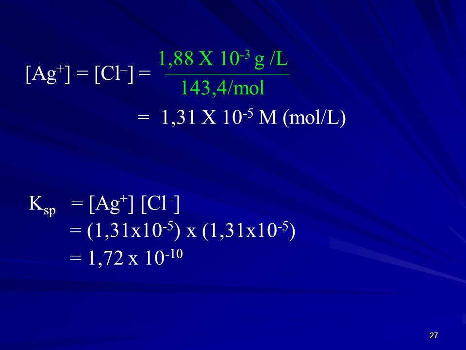 1,88 X 10-3 g /L [Ag+] = [Cl–] = 143,4/mol = 1,31 X 10-5 M (mol/L)